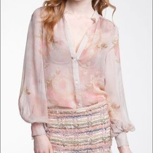 Haute Hippie Sheer Floral Silk Blouse